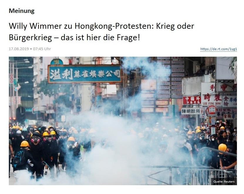Meinung - Willy Wimmer zu Hongkong-Protesten: Krieg oder Bürgerkrieg – das ist hier die Frage!