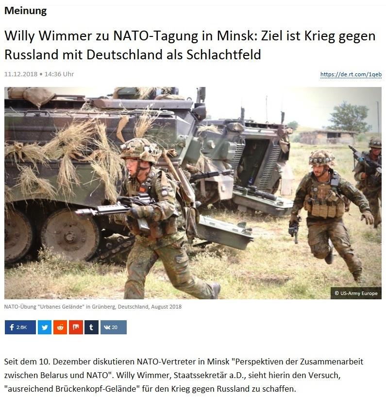 Meinung - Willy Wimmer zu NATO-Tagung in Minsk: Ziel ist Krieg gegen Russland mit Deutschland als Schlachtfeld