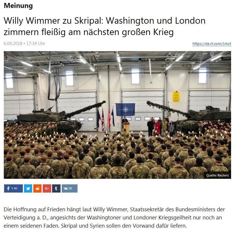Meinung - Willy Wimmer zu Skripal: Washington und London zimmern fleißig am nächsten großen Krieg