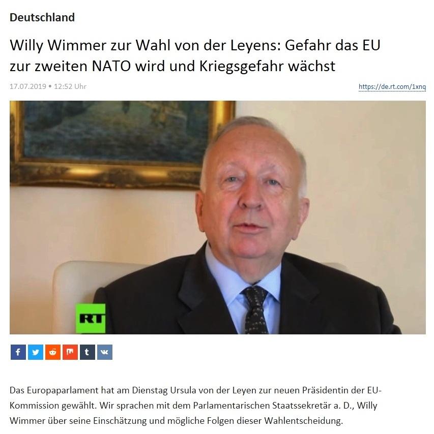 Deutschland - Willy Wimmer zur Wahl von der Leyens: Gefahr, dass EU zur zweiten NATO wird und Kriegsgefahr wächst