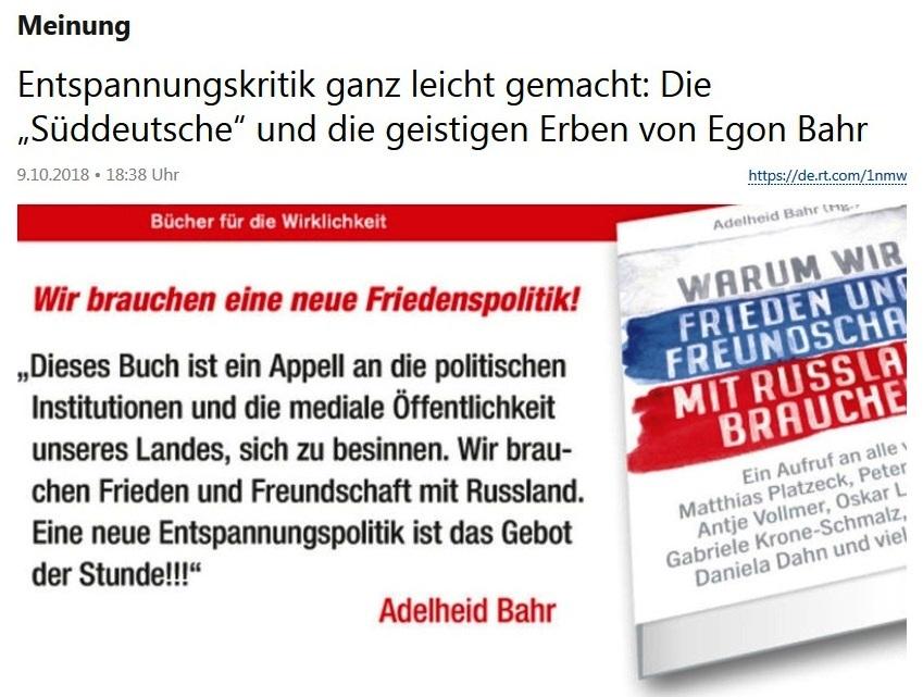 Meinung -  Entspannungskritik ganz leicht gemacht: Die 'Süddeutsche' und die geistigen Erben von Egon Bahr