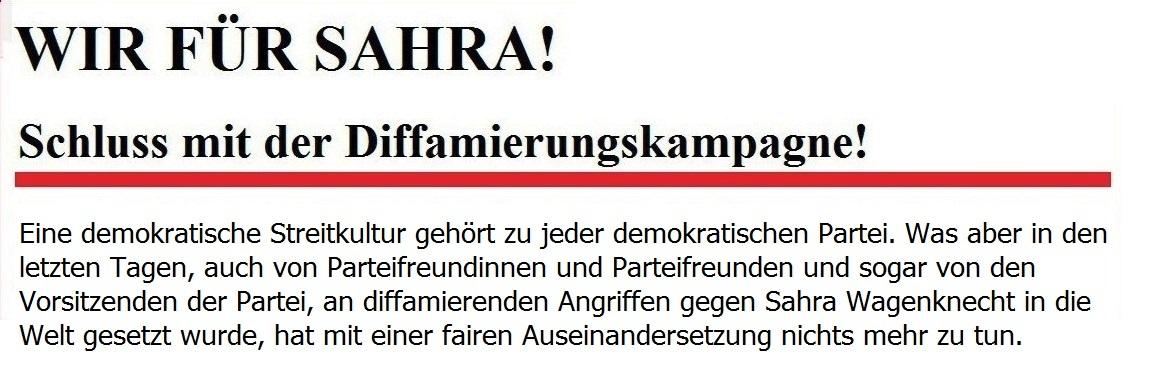 Wir für Sahra! - Schluss mit der Diffamierungskampagne!