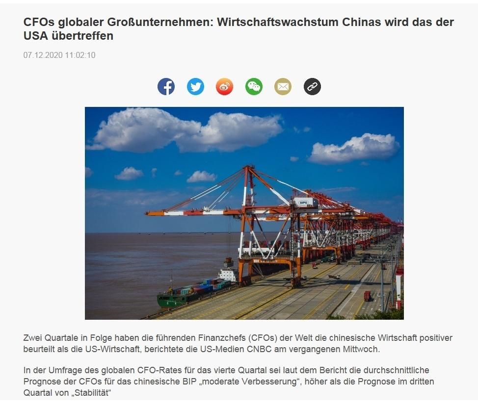 CFOs globaler Großunternehmen: Wirtschaftswachstum Chinas wird das der USA übertreffen - CRI online Deutsch - 07.12.2020