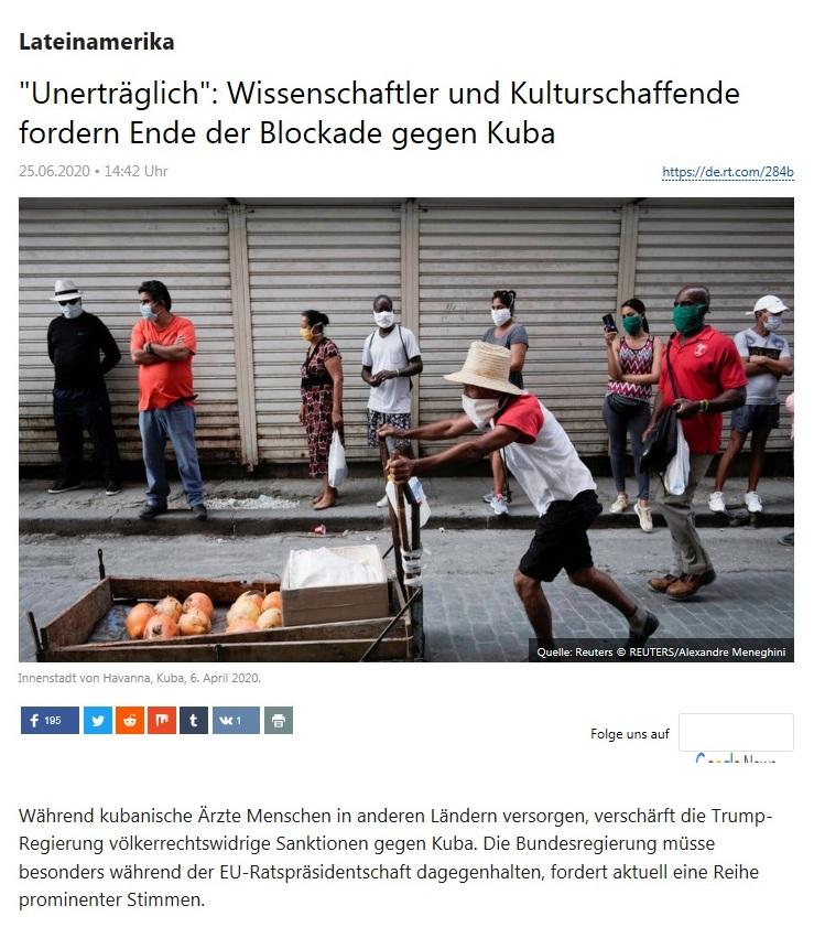 Lateinamerika - 'Unerträglich': Wissenschaftler und Kulturschaffende fordern Ende der Blockade gegen Kuba  - RT Deutsch - 25.06.2020