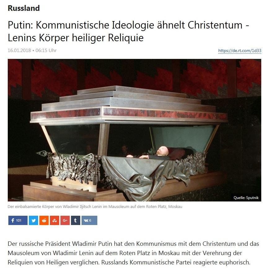 Russland - Putin: Kommunistische Ideologie ähnelt Christentum - Lenins Körper heiliger Reliquie
