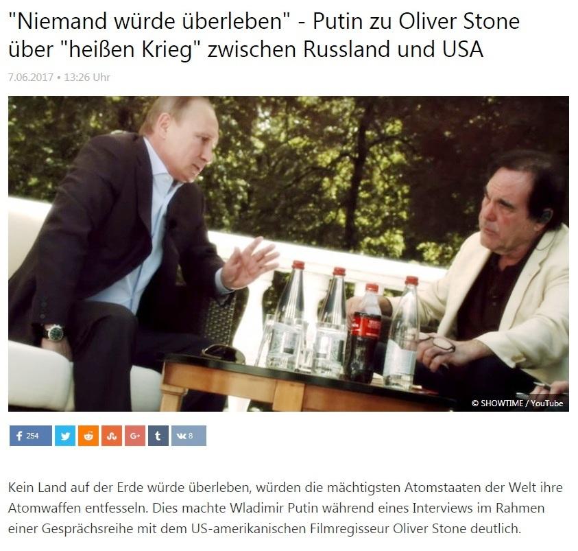 Niemand würde überleben - Putin zu Oliver Stone über heißen Krieg zwischen Russland und USA