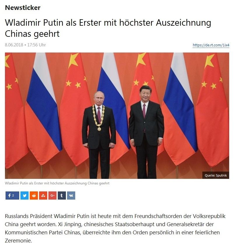 Newsticker - Wladimir Putin als Erster mit höchster Auszeichnung Chinas geehrt