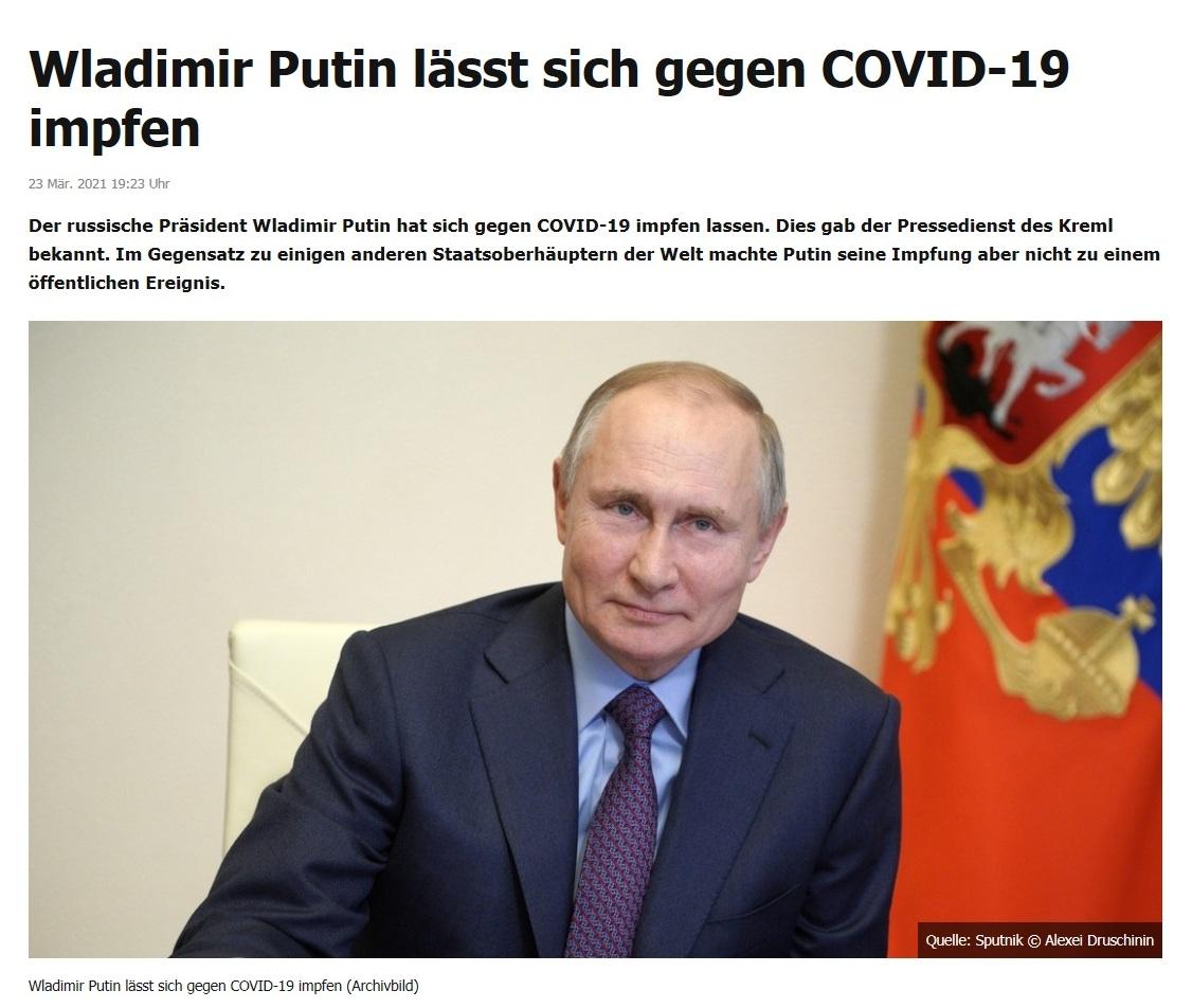 Wladimir Putin lässt sich gegen COVID-19 impfen -  RT DE - 23 Mär. 2021 19:23 Uhr