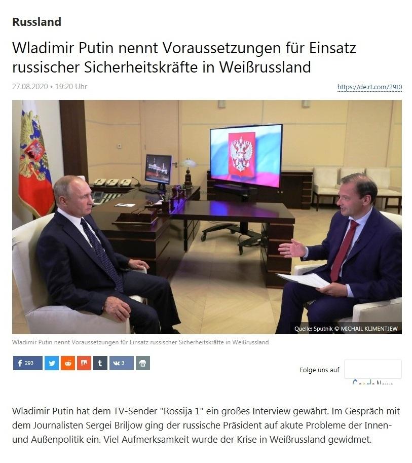 Russland - Wladimir Putin nennt Voraussetzungen für Einsatz russischer Sicherheitskräfte in Weißrussland - RT Deutsch - 27.08.2020
