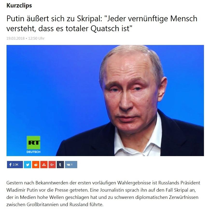 Putin äußert sich zu Skripal: 'Jeder vernünftige Mensch versteht, dass es totaler Quatsch ist'