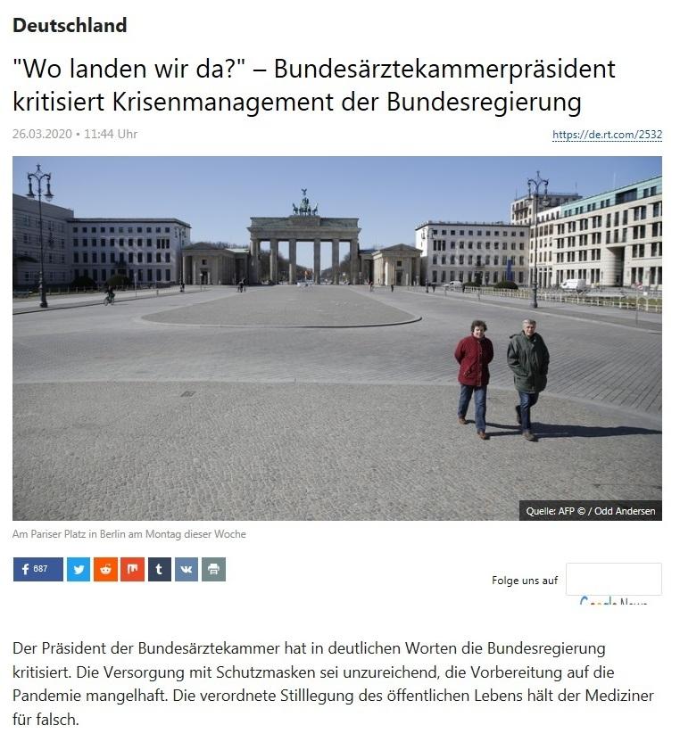 Deutschland - 'Wo landen wir da?' – Bundesärztekammerpräsident kritisiert Krisenmanagement der Bundesregierung  - RT DEUTSCH - 26.03.2020