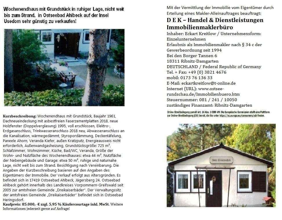 Wochenendhaus mit Grundstück in Strandnähe in ruhiger Lage auf der Insel Usedom zu verkaufen