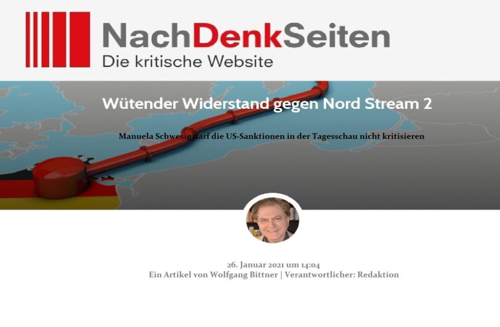 Wütender Widerstand gegen Nord Stream 2 - Manuela Schwesig darf die US-Sanktionen in der Tagesschau nicht kritisieren - Ein Artikel von Wolfgang Bittner | Verantwortlicher: Redaktion - NachDenkSeiten - Die kritische Website - 26. Januar 2021 um 14:04