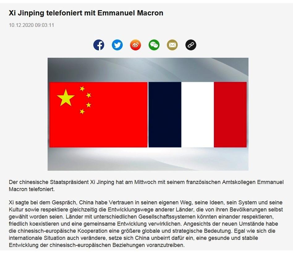 Xi Jinping telefoniert mit Emmanuel Macron -  CRI online Deutsch - 10.12.2020 09:03:11