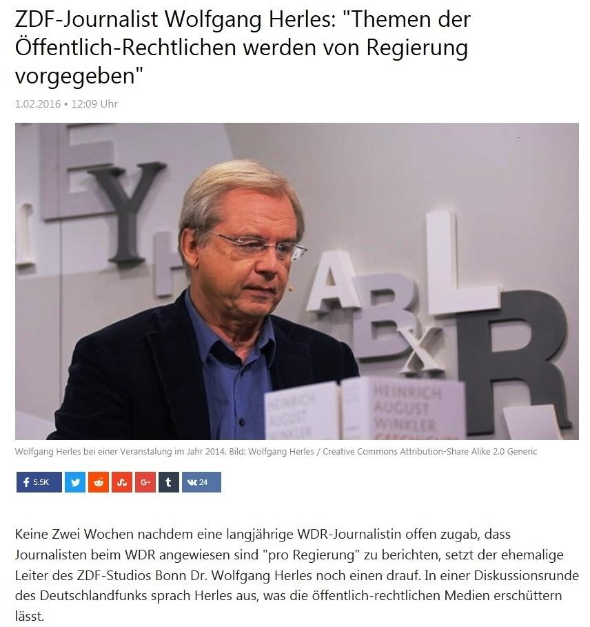 ZDF-Journalist Dr. Wolfgang Herles lässt endlich die Katze aus dem Sack - ZDF-Journalist Wolfgang Herles: Themen der Öffentlich-Rechtlichen werden von Regierung vorgegeben