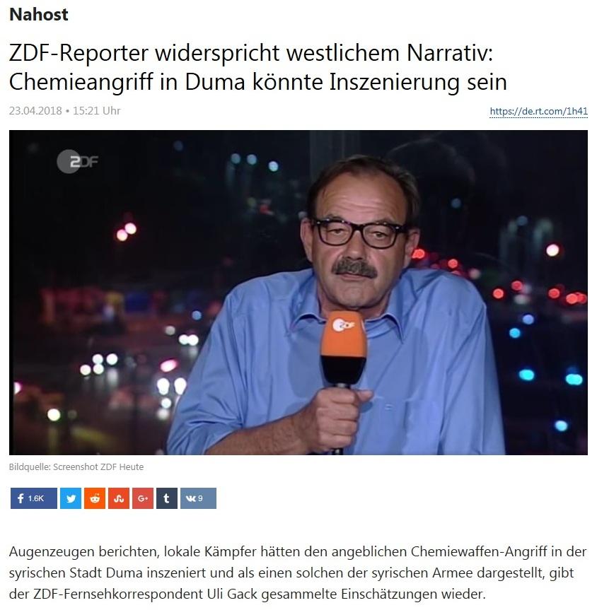 Nahost - ZDF-Reporter widerspricht westlichem Narrativ: Chemieangriff in Duma könnte Inszenierung sein