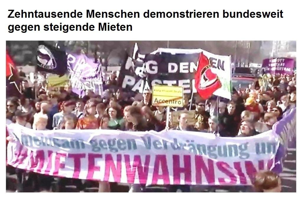 Zehntausende Menschen demonstrieren bundesweit gegen steigende Mieten - Bericht des MDR vom 06.04.2019