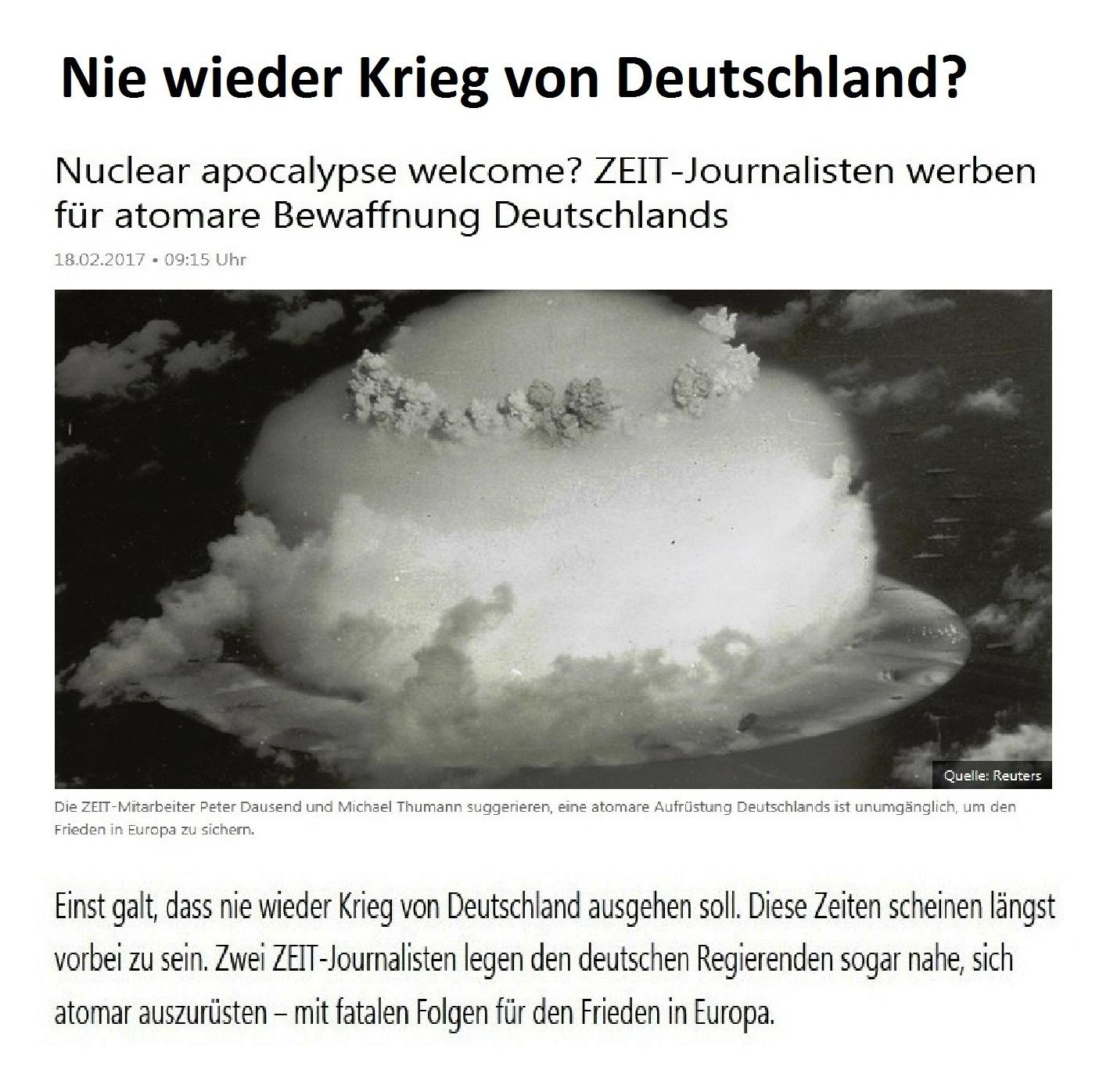 Aus dem Posteingang - Friedensinitiative gegen atomare Aufrüstung -  Zeit-Journalisten werben für atomare Aufrüstung Deutschlands
