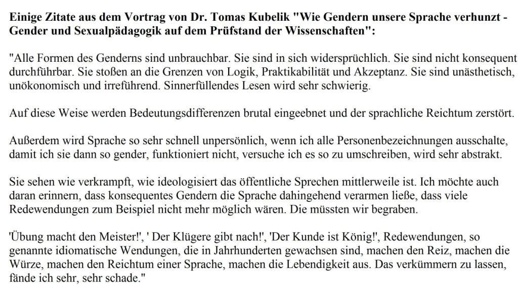 Zitate aus dem Vortrag von Dr. Tomas Kubelik 'Wie Gendern unsere Sprache verhunzt - Gender und Sexualpädagogik auf dem Prüfstand der Wissenschaften'