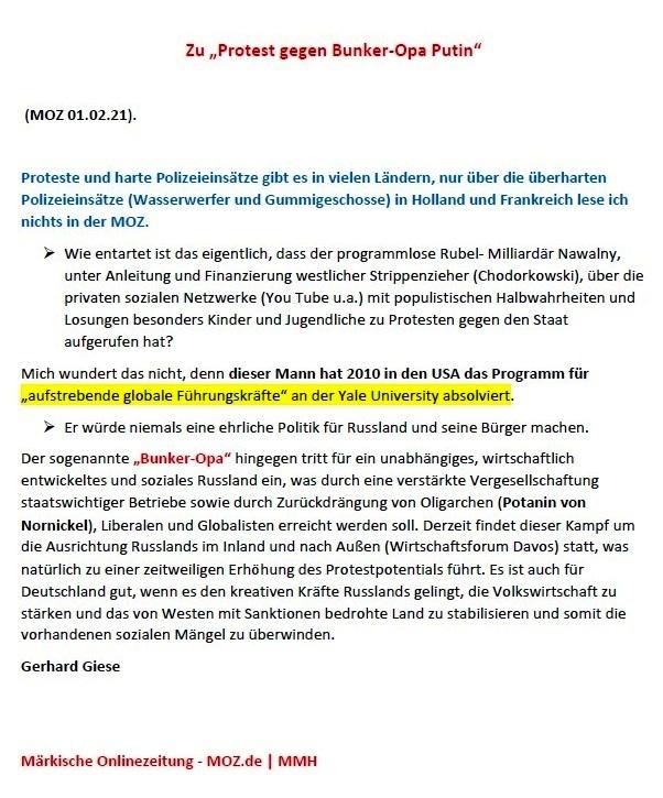 Zu 'Protest gegen Bunker-Opa Putin' (MOZ 01.02.2021) -  Leserbrief von Gerhard Giese - Märkische Onlinezeitung  MOZ.de - Aus dem Posteingang von Siegfried Dienel vom 08.02.2021