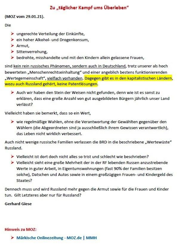 Zu 'täglicher Kampf ums Überleben' (MOZ 29.01.2021) -  Leserbrief von Gerhard Giese - Märkische Onlinezeitung  MOZ.de - Aus dem Posteingang von Siegfried Dienel vom 08.02.2021