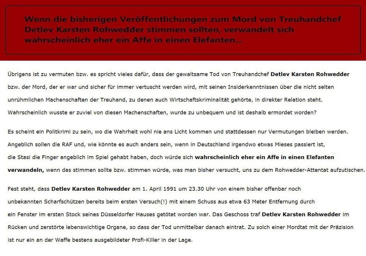 Zum Mord an Treuhandchef Detlev Karsten Rohwedder