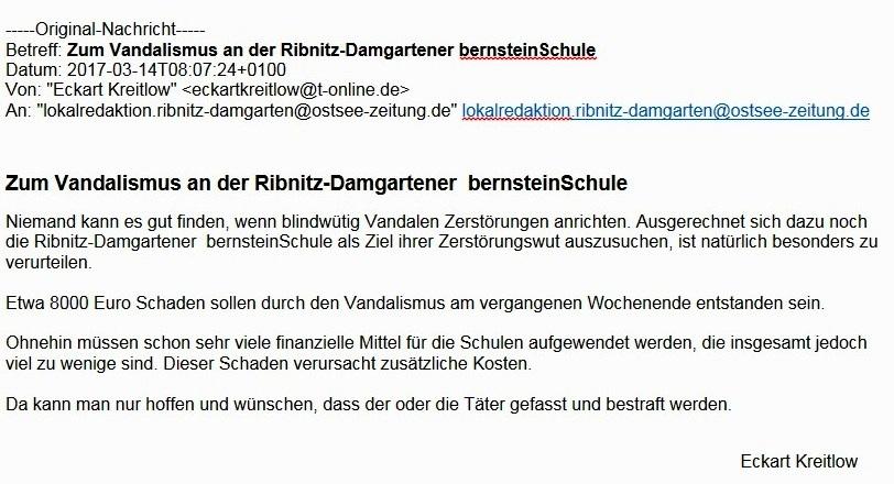 Leserbrief an die Ostsee-Zeitung zum Vandalismus an der bernsteinSchule Ribnitz-Damgarten