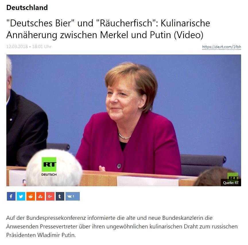 Deutschland - 'Deutsches Bier' und 'Räucherfisch': Kulinarische Annäherung zwischen Merkel und Putin (Video)