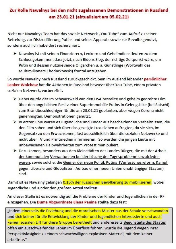 Zur Rolle Nawalnys bei den nicht zugelassenen Demostrationen in Russland am 23.01.2021 (aktualisiert am 05.02.2021) - Gedanken von Gerhard Giese - Aus dem Posteingang von Siegfried Dienel vom 08.02.2021 - Seite 1 von 4 Seiten