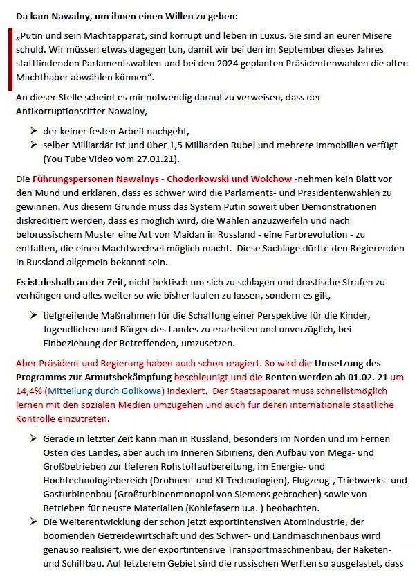 Zur Rolle Nawalnys bei den nicht zugelassenen Demostrationen in Russland am 23.01.2021 (aktualisiert am 05.02.2021) - Gedanken von Gerhard Giese - Aus dem Posteingang von Siegfried Dienel vom 08.02.2021 - Seite 2 von 4 Seiten