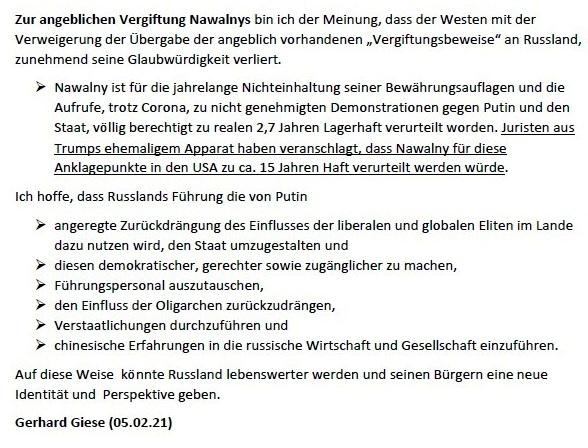 Zur Rolle Nawalnys bei den nicht zugelassenen Demostrationen in Russland am 23.01.2021 (aktualisiert am 05.02.2021) - Gedanken von Gerhard Giese - Aus dem Posteingang von Siegfried Dienel vom 08.02.2021 - Seite 4 von 4 Seiten