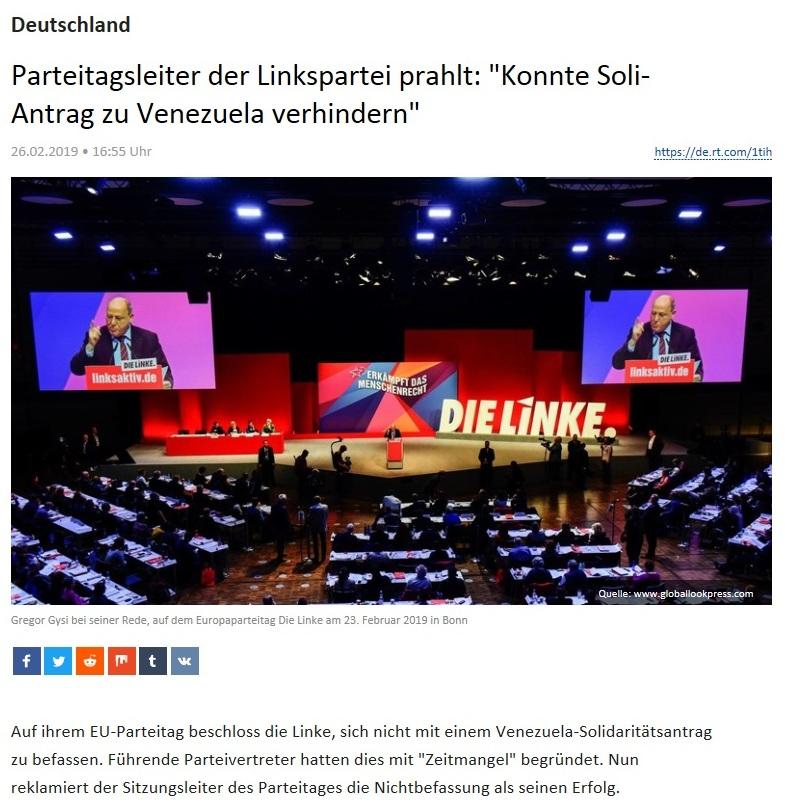 Deutschland - Parteitagsleiter der Linkspartei prahlt: 'Konnte Soli-Antrag zu Venezuela verhindern'