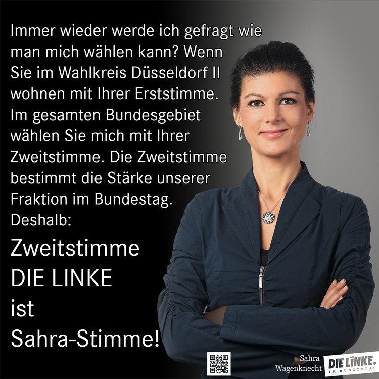 Zweitstimme ist Sahrastimme bei der Bundestagswahl am 24. September 2017